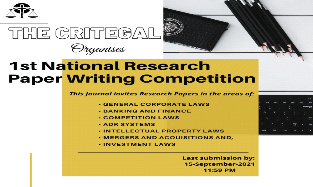 National Research Paper Writing Competition by The Critegal