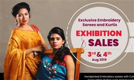 This August 3 & 4 - Alika exhibiting 2019 Onam Collection of Embroidered Sarees and Kurtis