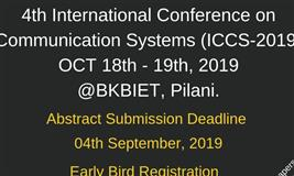 4th International Conference on Communication Systems (ICCS-2019)