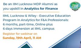 Be an IIM Lucknow MDP Alumni as you upskill in Analytics for Finance